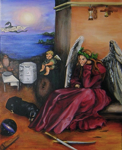 Acrylic Painting, muse, inspiration, Albrucht Durer, Melancholia by Jessica Schramm