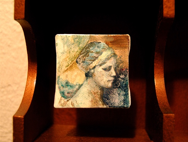 Miniature oil painting, England, shadow box, statue study by Jessica Schramm