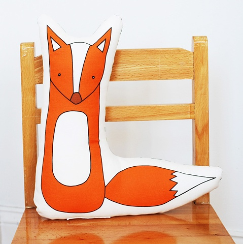 printed fox pillow