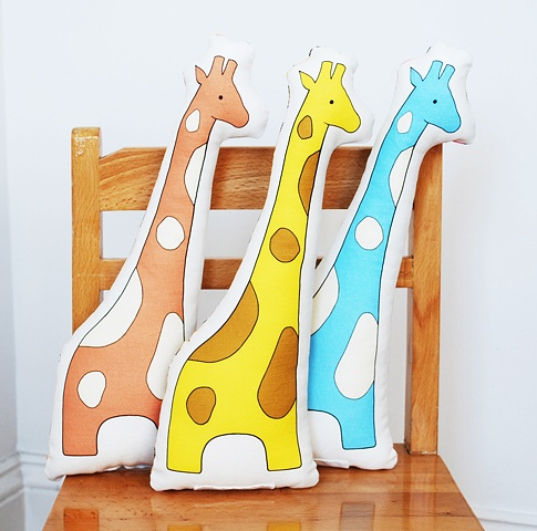 printed giraffe pillow
