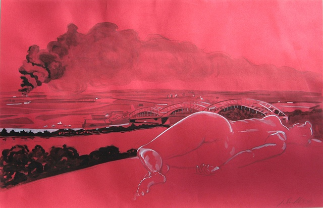 """Nude over the Magellan Gasoline Tank Fire"""