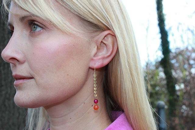 Pink Agate & Carnelian Earrings
