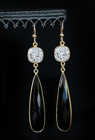 Druzy & Black Onyx Drop Earrings