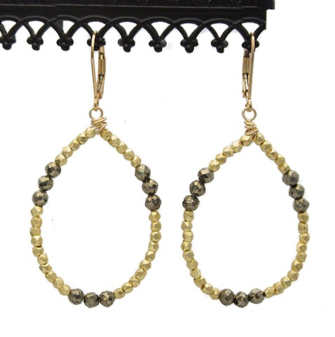 Vermeil & Pyrite Teardrop Earrings