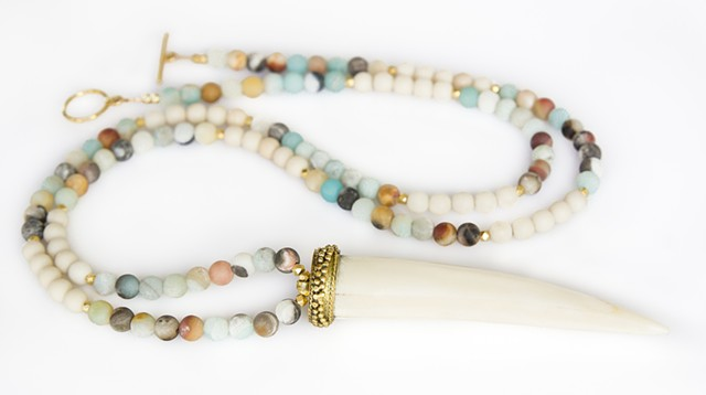 Ivory Horn Tusk & Amazonite Necklace