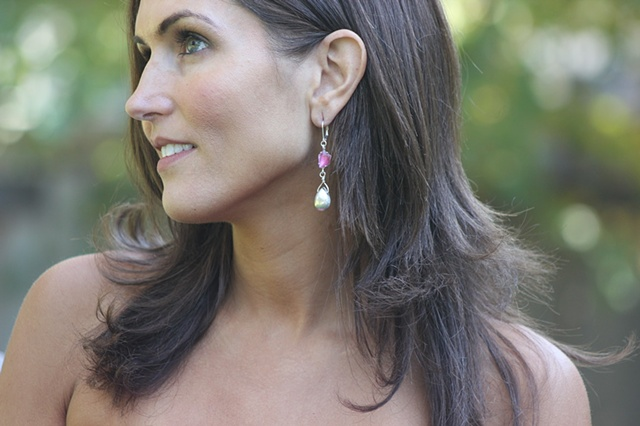 Pink & Sterling Drop Earrings