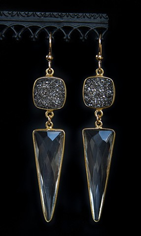 Druzy & Crystal Triangle Drop Earrings