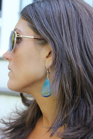 Blue Agate Slice Earrings