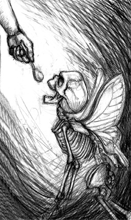 Marcus Howell, Marcus Howell art, pop surrealism, lowbrow, lowbrow art, drawing, graphite, photoshop, skeleton, butterfly wings, weird dreams