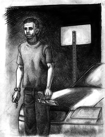 Marcus Howell, Marcus Howell art, pop surrealism, lowbrow, lowbrow art, drawing, graphite, pen and ink, photoshop, depressed man