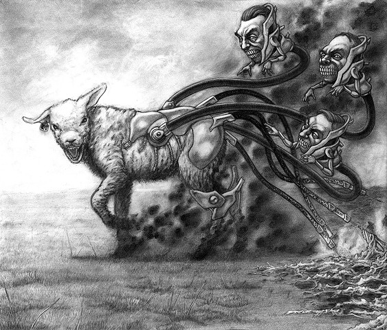 Marcus Howell, Marcus Howell art, pop surrealism, lowbrow, lowbrow art, drawing, graphite, photoshop