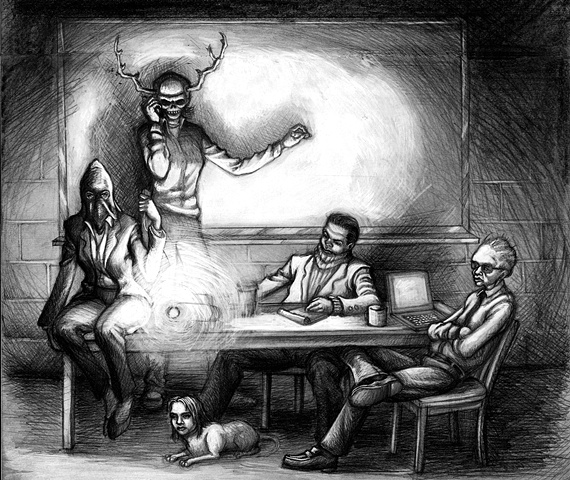 Marcus Howell, Marcus Howell art, pop surrealism, lowbrow, lowbrow art, drawing, graphite, photoshop, work meeting