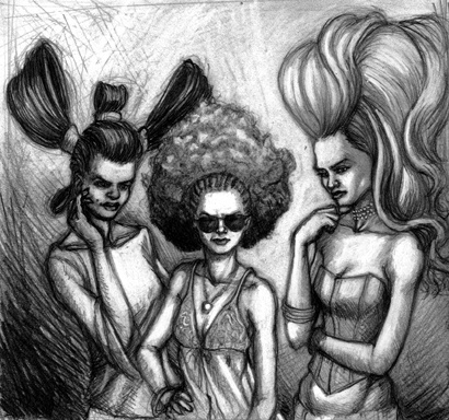 Marcus Howell, Marcus Howell art, pop surrealism, lowbrow, lowbrow art, drawing, graphite, photoshop, mean girls