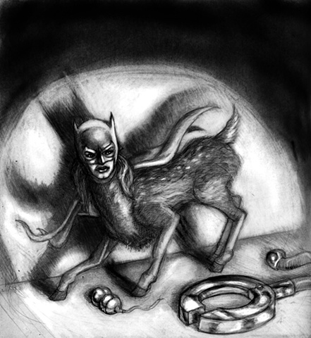 Marcus Howell, Marcus Howell art, pop surrealism, lowbrow, lowbrow art, drawing, graphite, photoshop, Deer with batgirl head