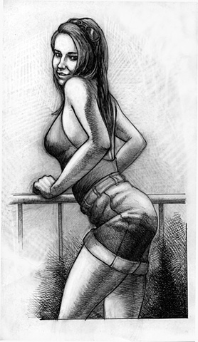 Marcus Howell, Marcus Howell art, pop surrealism, lowbrow, lowbrow art, drawing, graphite, pen and ink, photoshop, hot girl