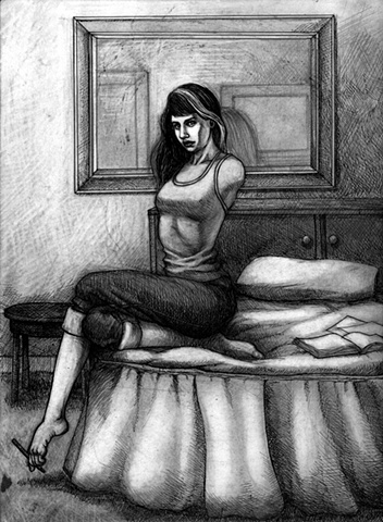 Marcus Howell, Marcus Howell art, pop surrealism, lowbrow, lowbrow art, drawing, graphite, pen and ink, photoshop, armless woman
