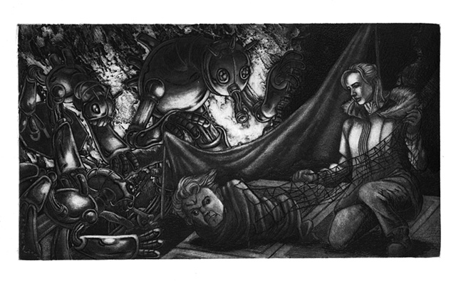 Marcus Howell, Marcus Howell art, pop surrealism, lowbrow, lowbrow art, intaglio, printmaking