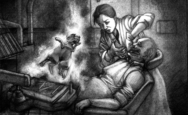 Marcus Howell, Marcus Howell art, pop surrealism, lowbrow, lowbrow art, drawing, graphite, photoshop, deformed dog, dentist