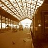 train station sepia