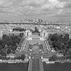 top of eiffel tower bw