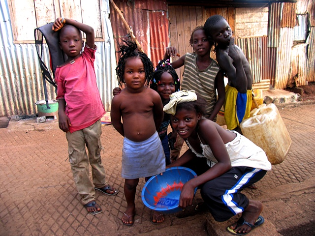 Children of a slum in downtown Freetown.
