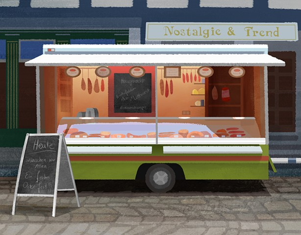 A German Meat Wagon with warm colors from inside the trailer located in Einbeck, Germany.