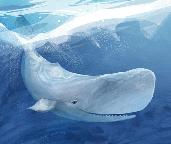 A fun, playful print of a happy whale in his home beneath the waves.