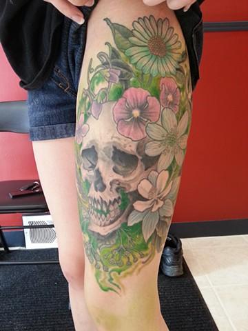 Skull n fleurs. GREEN!
