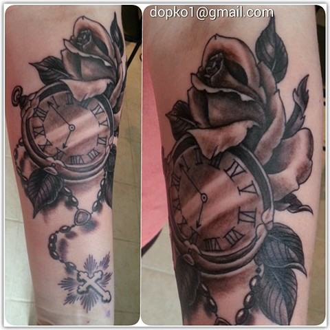 Rosary rose and watch