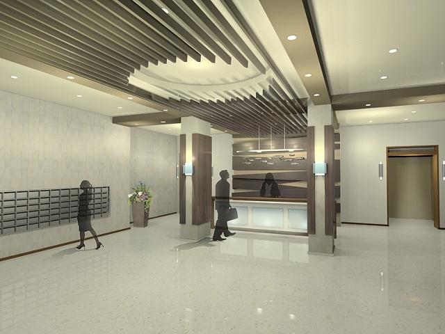 •  Apartment Lobby Design - Angle 1