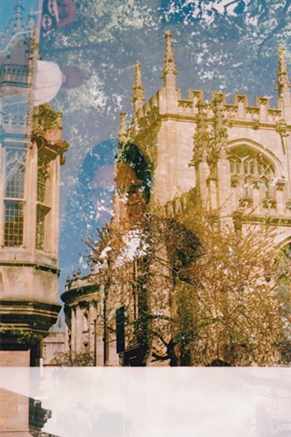 A lo-fi multiple exposure film photo self-portrait with medieval architecture in Oxford and trees in Battersea Park, London, England