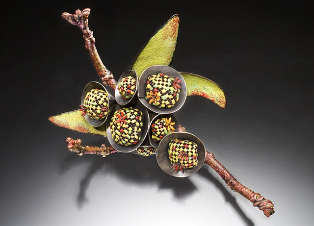 Contemporary art jewelry brooch of vitreous enamel by Wendy McAllister.