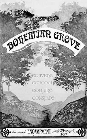 Bohemian Grove Gathering Poster Graphite on Paper 2016