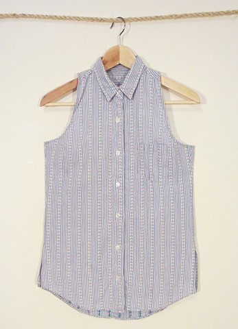 Button down cotton tank made from reclaimed material