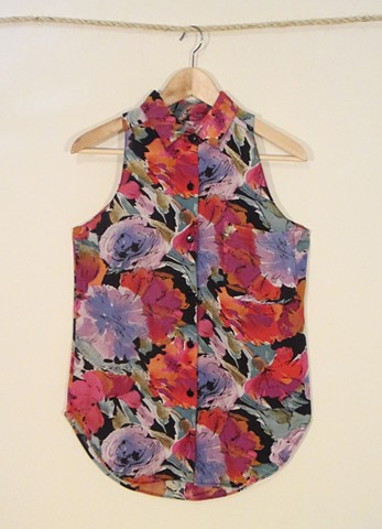 Button down rayon tank made from reclaimed material