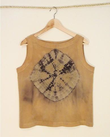 Silk tank shibori dyed with wild sumac and iron.