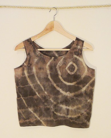 Silk tank dyed with black tea and iron.