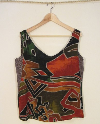 Loose rayon tank made from reclaimed material