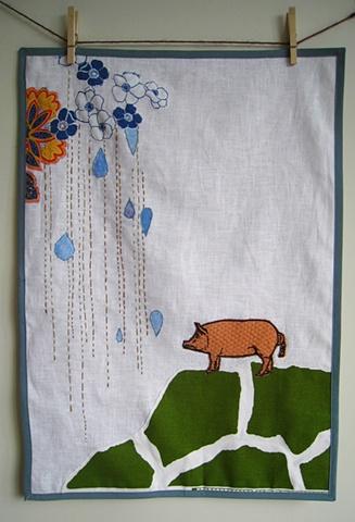 Pig on a Hill dishtowel