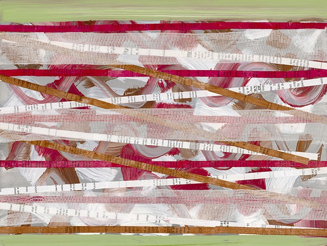 Shredded Paper and Gauze on Painted Aluminum Panel, Collage, Acrylic