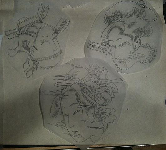 Sketch for geisha sleeve