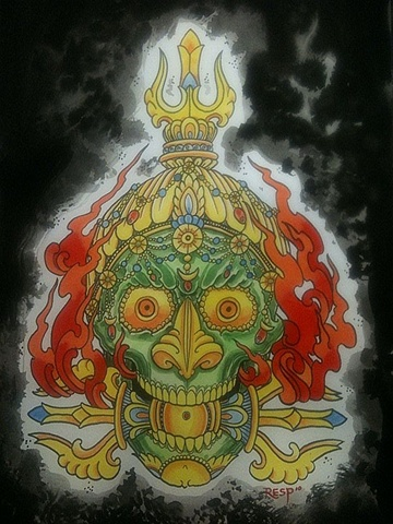 Tibetan ritual skull with Vajra