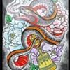 Snake, Peonies, Ritual Bell