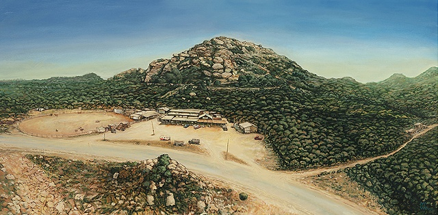American death cult Manson family Spanh ranch birds eye view landscape painting