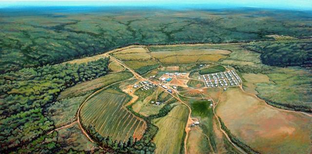 American death cult Jim Jones Peoples Temple Jonestown birds eye view landscape painting