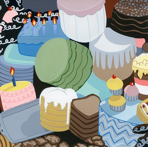 justin richel, sweets, gouache, painting, painter, cakes, pies, chocolate