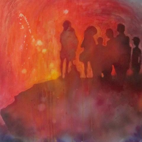 volcano apocalyptic painting acrylic figurative
