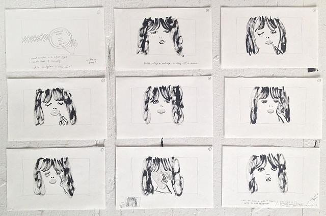 Storyboard Drawings for Natalie Prass' Music Video, Columbia Records