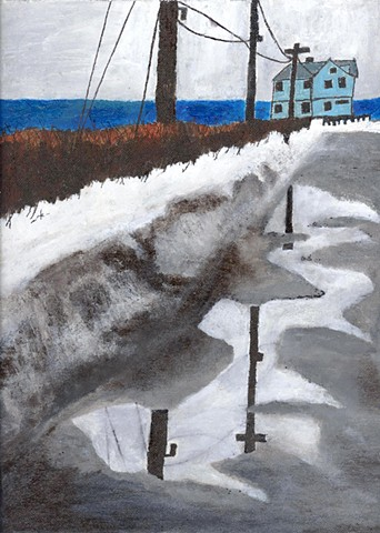 Painting of a winter road in Maine