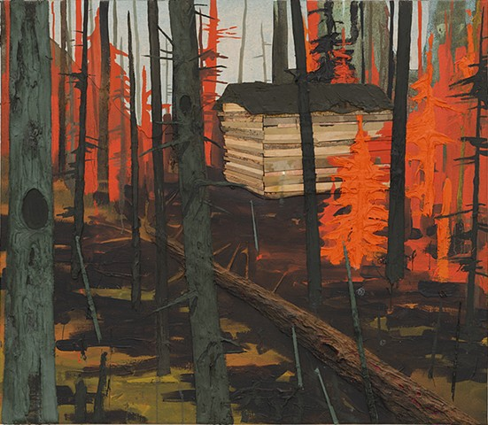 Forest cabin painting by artist Owen Rundquist